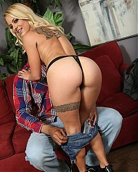 interracial hardcore pics1 tn Tattooed blonde Cameron Canada straddles a huge ebony dick